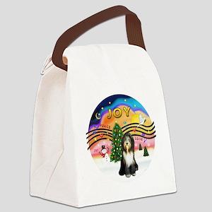 XMusic2-Bearded Collie (brn-w) Canvas Lunch Bag