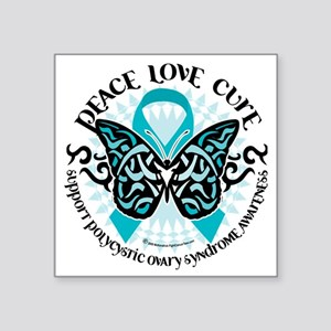 """PCOS-Butterfly-Tribal-2 Square Sticker 3"""" x 3"""""""