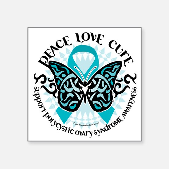 "PCOS-Butterfly-Tribal-2 Square Sticker 3"" x 3"""