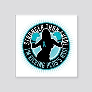"PCOS-Boxing-Girl Square Sticker 3"" x 3"""