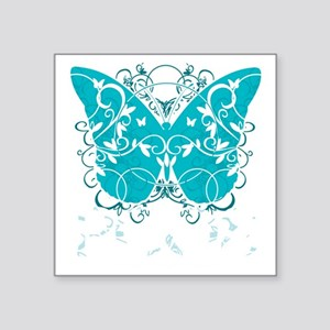 """PCOS-Butterfly-BLK Square Sticker 3"""" x 3"""""""