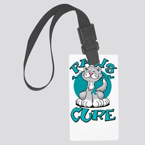 Paws-for-the-Cure-Cat-PCOS-blk Large Luggage Tag