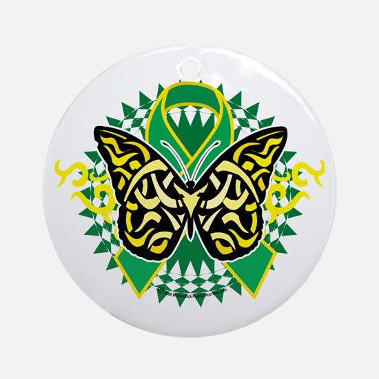 Gastroparesis-Butterfly-Tribal-2-bl Round Ornament