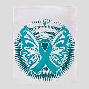 PCOS-Butterfly-3-blk Throw Blanket