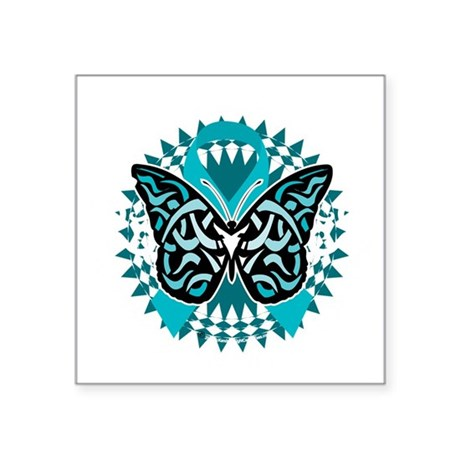 """PCOS-Butterfly-Tribal-2-blk Square Sticker 3"""" x 3"""""""