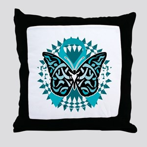 PCOS-Butterfly-Tribal-2-blk Throw Pillow