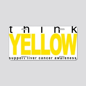 Liver-Cancer-Think-Yellow Aluminum License Plate