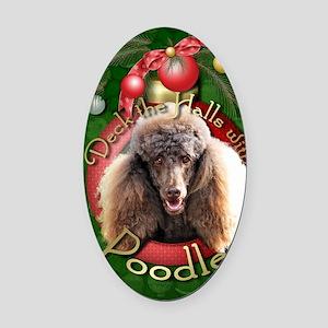 DeckHalls_Poodles_Chocolate Oval Car Magnet