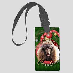 DeckHalls_Poodles_Chocolate Large Luggage Tag