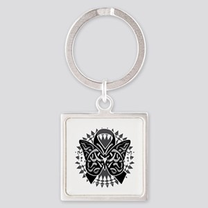 Skin-Cancer-Tribal-Butterfly-blk Square Keychain