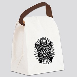 Skin-Cancer-Tribal-Butterfly-blk Canvas Lunch Bag