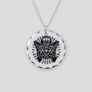 Skin-Cancer-Tribal-Butterfly Necklace Circle Charm