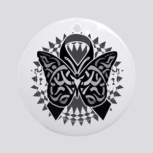 Skin-Cancer-Tribal-Butterfly-blk Round Ornament