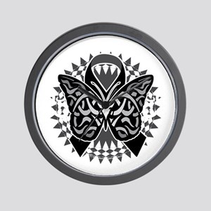 Skin-Cancer-Tribal-Butterfly-blk Wall Clock