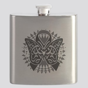 Skin-Cancer-Tribal-Butterfly-blk Flask