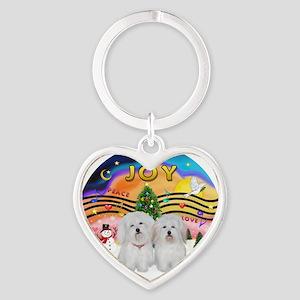 XMusic2-Two Coton de Tulears Heart Keychain
