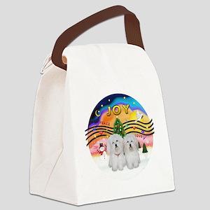 XMusic2-Two Coton de Tulears Canvas Lunch Bag