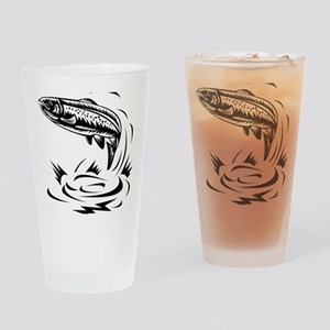 trout fish jumping woodcut Drinking Glass