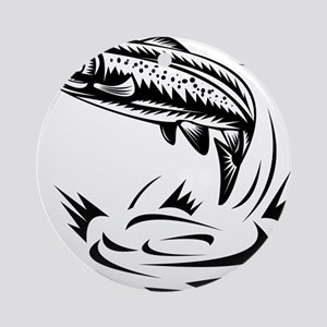 trout fish jumping woodcut Round Ornament