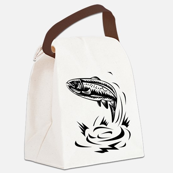 trout fish jumping woodcut Canvas Lunch Bag