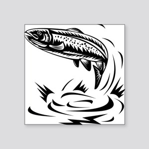 "trout fish jumping woodcut Square Sticker 3"" x 3"""