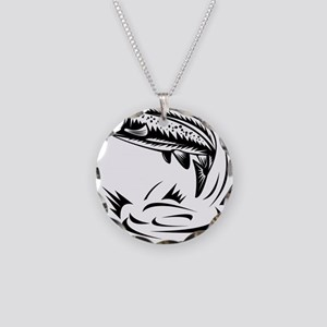 trout fish jumping woodcut Necklace Circle Charm