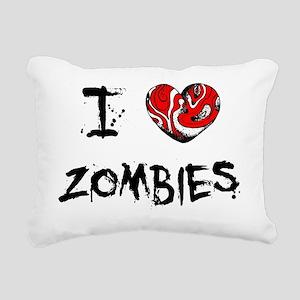 I Love Zombies Rectangular Canvas Pillow