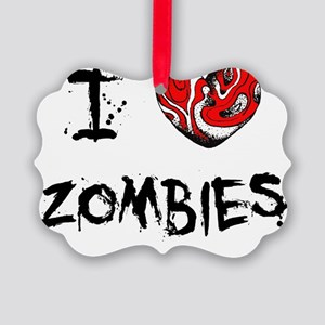 I Love Zombies Picture Ornament