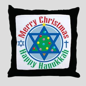 Christmas-Hanukkah Throw Pillow