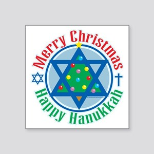 "Christmas-Hanukkah Square Sticker 3"" x 3"""