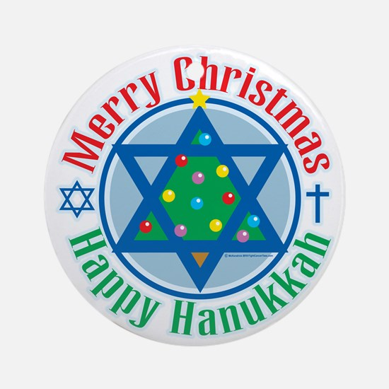Christmas-Hanukkah Round Ornament
