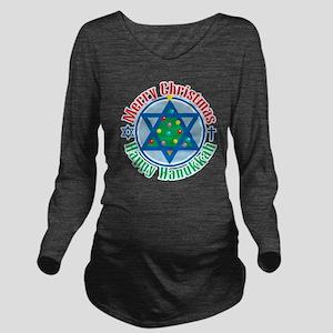 Christmas-Hanukkah Long Sleeve Maternity T-Shirt