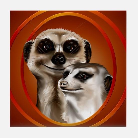 Meerkat Couple-circle Tile Coaster