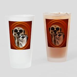 Meerkat Couple-circle Drinking Glass