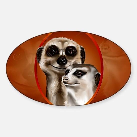 Meerkat Couple-Yardsign Sticker (Oval)