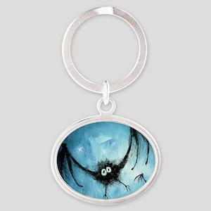 bat_blue_miniposter_12x18_fullbleed Oval Keychain
