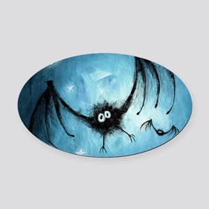 bat_blue_miniposter_12x18_fullblee Oval Car Magnet