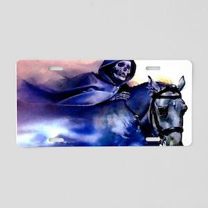 bluedeathonhorse_mini _post Aluminum License Plate
