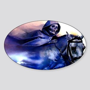 bluedeathonhorse_mini _poster_12x18 Sticker (Oval)