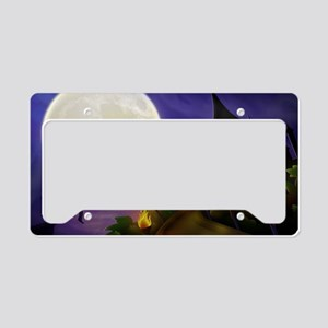 flyingwitchmoon2_miniposter_1 License Plate Holder
