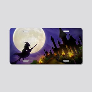 flyingwitchmoon2_miniposter Aluminum License Plate