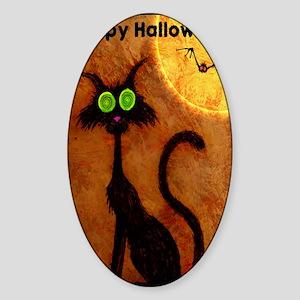 happyhalloweenscardycat_mini poster Sticker (Oval)