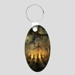 scarecrowgatheringvert_mini Aluminum Oval Keychain