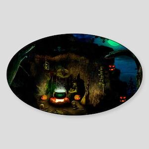 witchincave_miniposter_12x18_fullbl Sticker (Oval)
