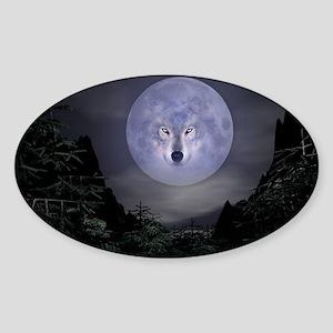 wolfmoon_miniposter_12x18_fullbleed Sticker (Oval)