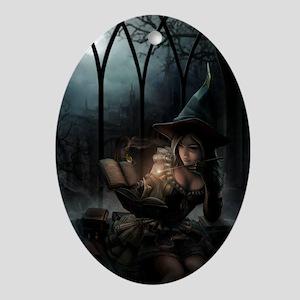 witchpretty_mini poster_12x18-fullbl Oval Ornament