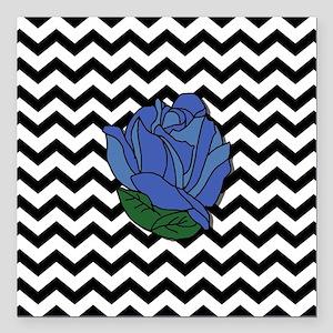 "Blue Rose Square Car Magnet 3"" x 3"""