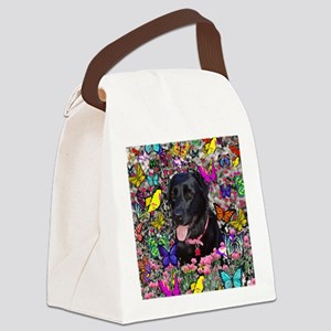 Abby Black Lab Butterflies Canvas Lunch Bag