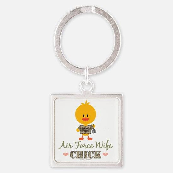 AirForceWifeChick Square Keychain