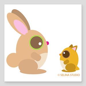 "hamster+bunny Square Car Magnet 3"" x 3"""